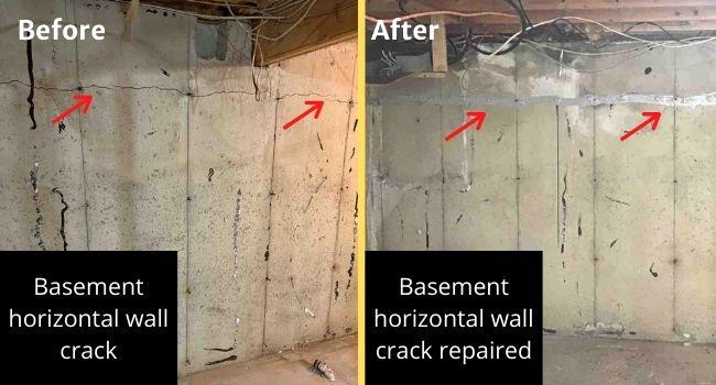 Basement wall horizontal crack repair